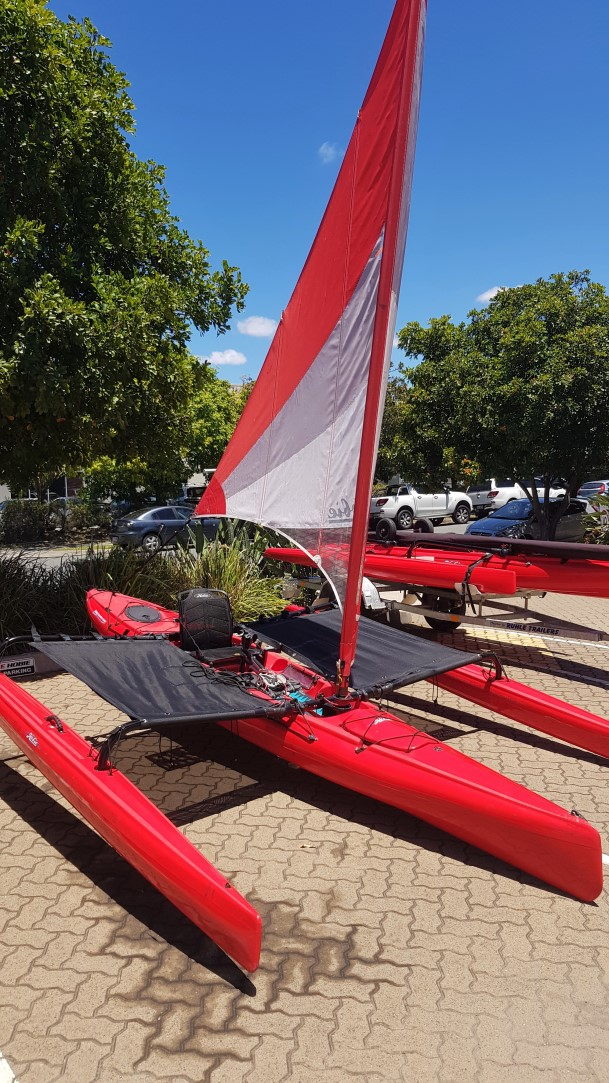 Hobie AI with Tramp set and sail out